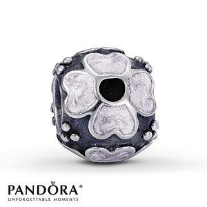 Pandora white enamel daisy charm
